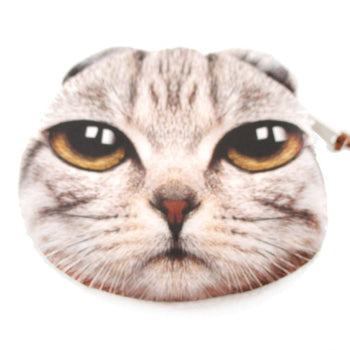 Skeptical Striped Kitty Cat Face Shaped Coin Purse Make Up Bag | DOTOLY