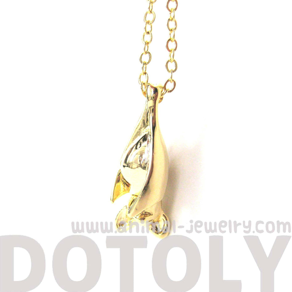 Sleek Abstract Bat Shaped Animal Pendant Necklace in Gold | DOTOLY | DOTOLY