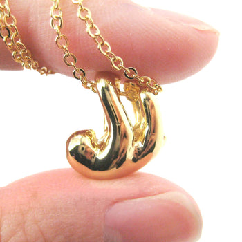 Sleek Abstract Sloth Shaped Animal Pendant Necklace in Gold | DOTOLY | DOTOLY