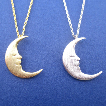 Sleepy Crescent Moon Celestial Pendant Necklace in Silver or Gold