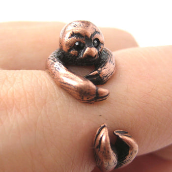 Sloth Animal Wrap Around Hug Ring in Copper - Sizes 4 to 9 Available | DOTOLY