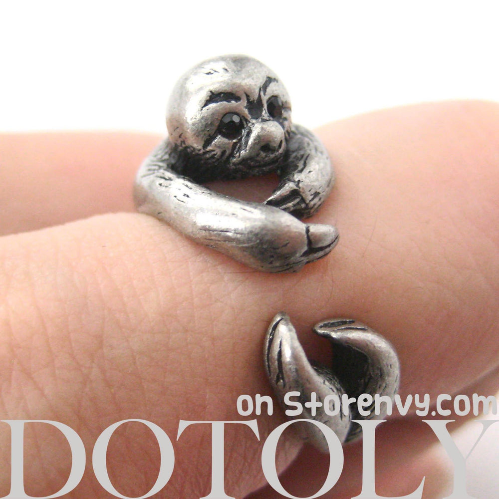 Sloth Animal Wrap Around Hug Ring in Silver - Size 4 to 9 Available | DOTOLY