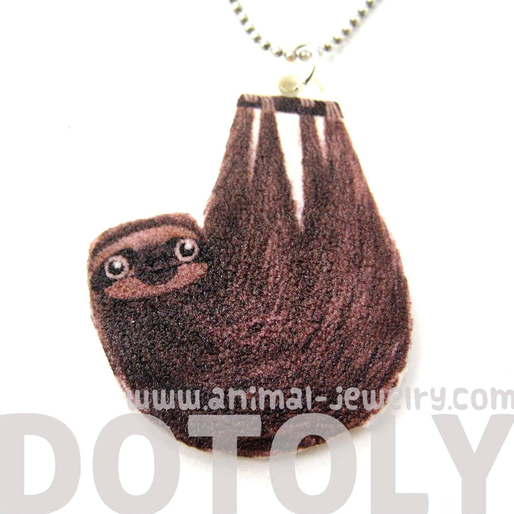 Sloth Shaped Animal Watercolor Pendant Necklace | Handmade Shrink Plastic | DOTOLY