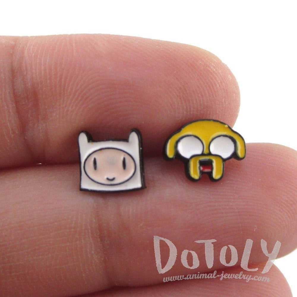 Small Adventure Time Finn and Jake The Dog Face Shaped Stud Earrings