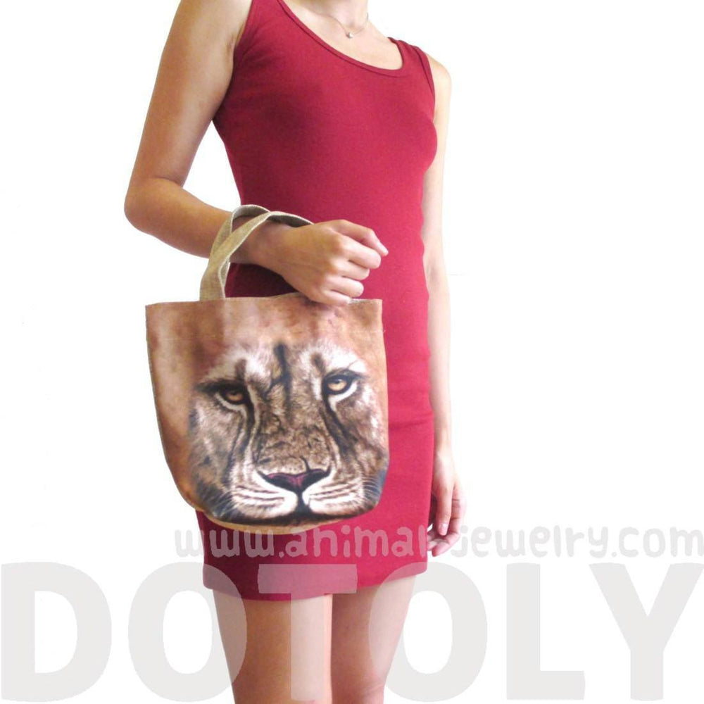 Small African Lion Face Print Fabric Lunch Tote Bag | DOTOLY | DOTOLY