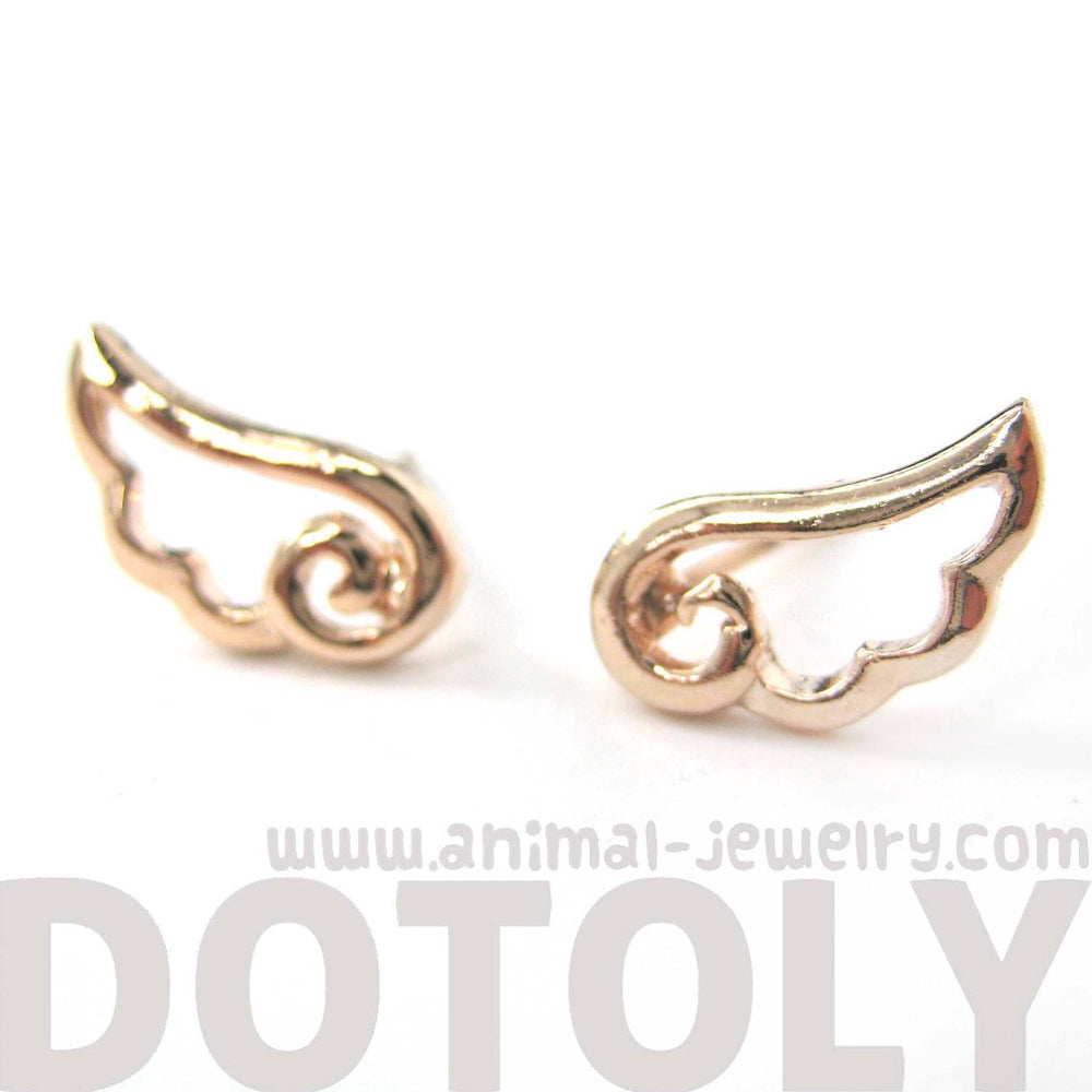 Small Angel Wings Feather Outline Stud Earrings in Rose Gold | DOTOLY | DOTOLY