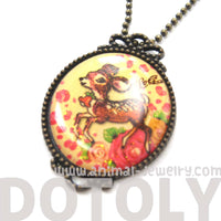 Small Bambi Deer with Roses Illustrated Pendant Necklace | Animal Jewelry | DOTOLY