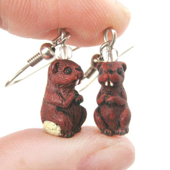 Small Beaver Shaped Porcelain Ceramic Animal Themed Dangle Earrings | Handmade | DOTOLY