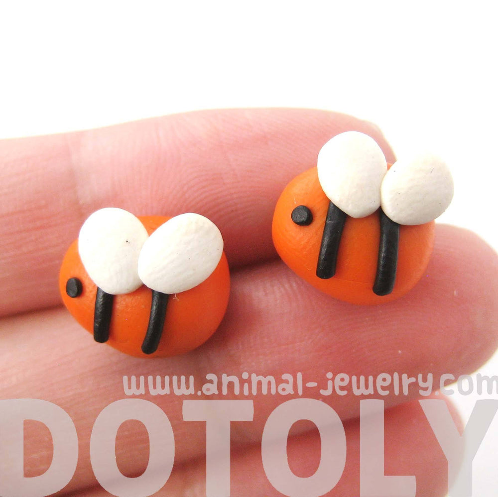 Small Bee Shaped Animal Themed Polymer Clay Stud Earrings | DOTOLY | DOTOLY