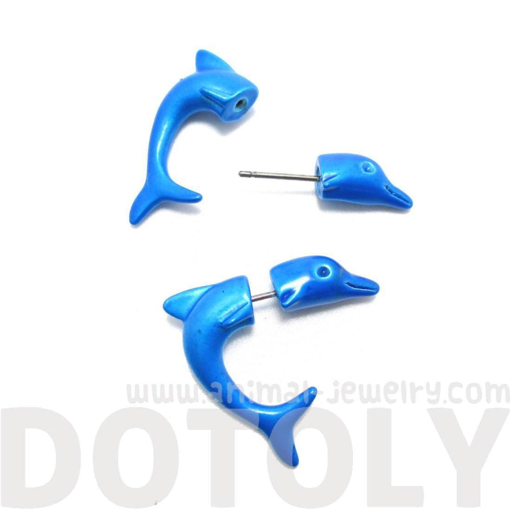 Small Blue Dolphin Sea Animal Shaped Front and Back Stud Earrings | DOTOLY