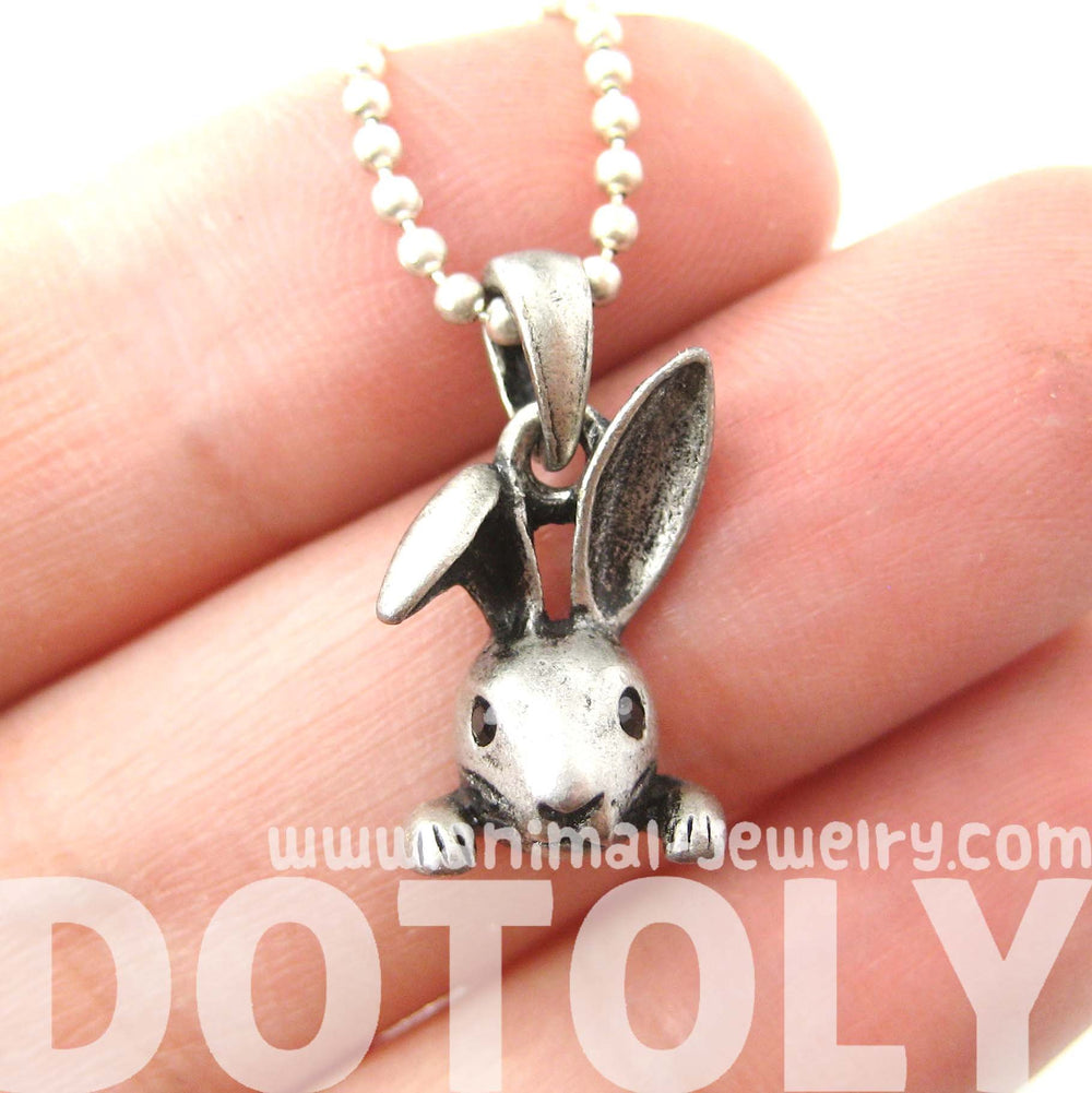 Small Bunny Rabbit Animal Head Pendant Necklace in Silver | DOTOLY | DOTOLY