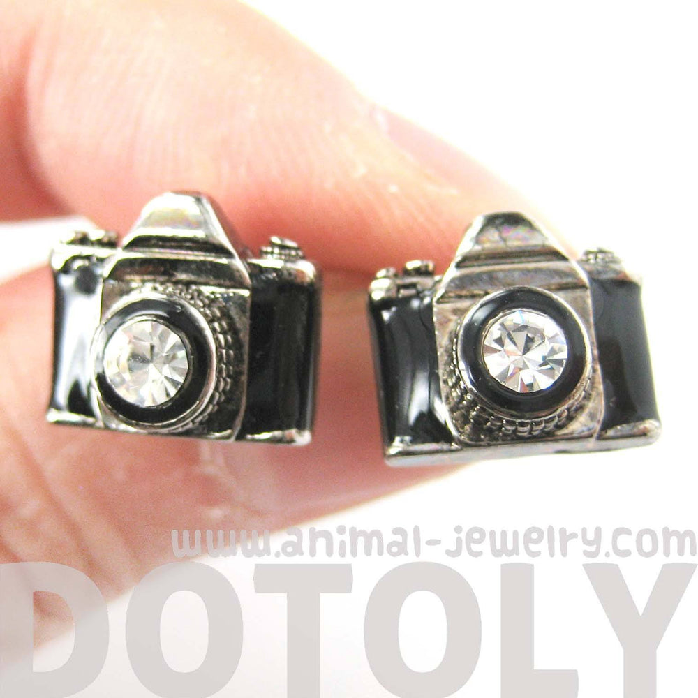 Small Camera Photography Themed Stud Earrings in Black and Silver | DOTOLY