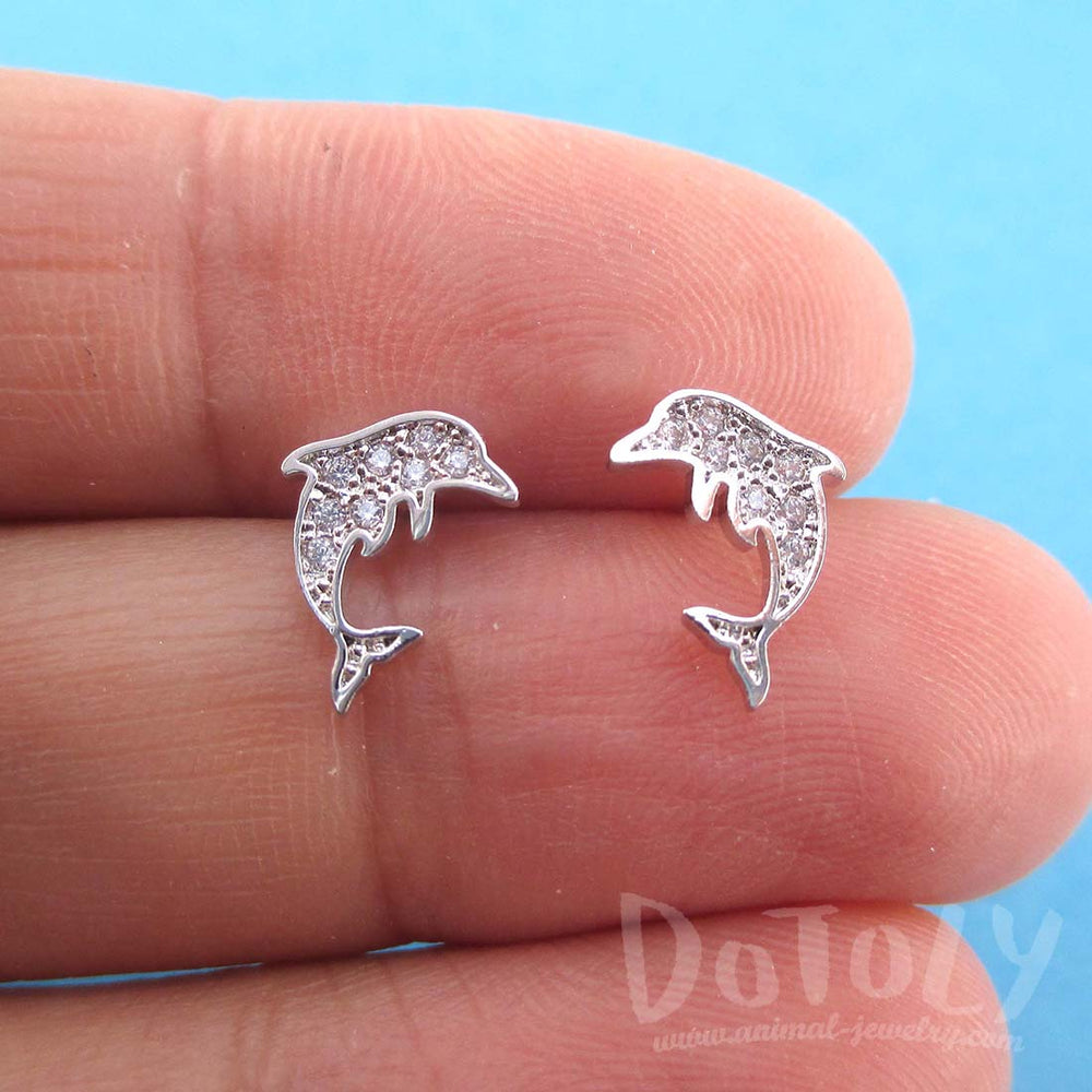 Small Dolphin Aquatic Animal Shaped Rhinestone Stud Earrings in Silver