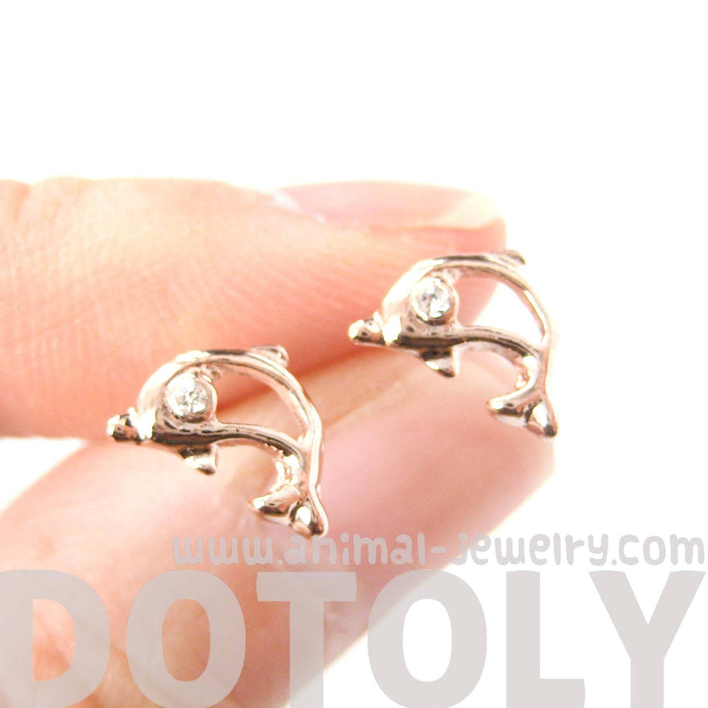 Small Dolphin Fish Sea Animal Outline Stud Earrings in Rose Gold | DOTOLY | DOTOLY