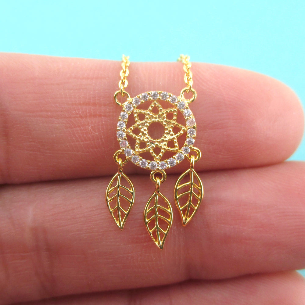 Dream Catcher Shaped Rhinestone Pendant Necklace in Gold or Silver