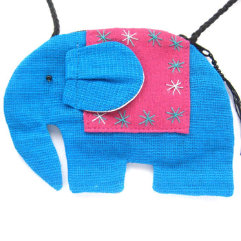 Small Elephant Shaped Animal Cross Body Bag in Bright Blue | DOTOLY