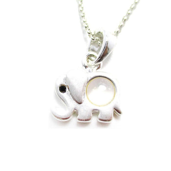 Small Elephant Totem Animal Themed Charm Necklace in Silver | DOTOLY
