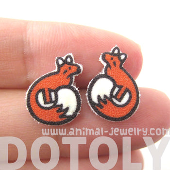 Small Fox Shaped Animal Illustration Stud Earrings | Handmade Shrink Plastic | DOTOLY