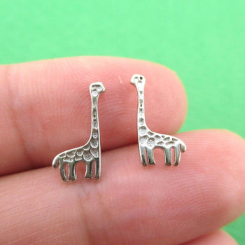 Small Giraffe Silhouette Shaped Stud Earrings in .925 Sterling Silver