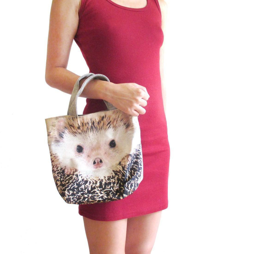 Small Hedgehog Face Print Fabric Lunch Tote Bag | DOTOLY | DOTOLY
