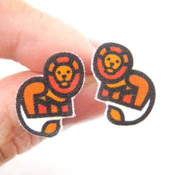 Small Lion Animal Illustration Stud Earrings | Handmade Shrink Plastic | DOTOLY