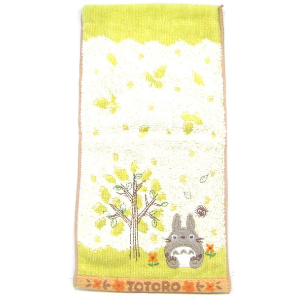 Small My Neighbor Totoro Embroidered Bath Wash Scrub Towel in Light Green | Studio Ghibli Japan | DOTOLY