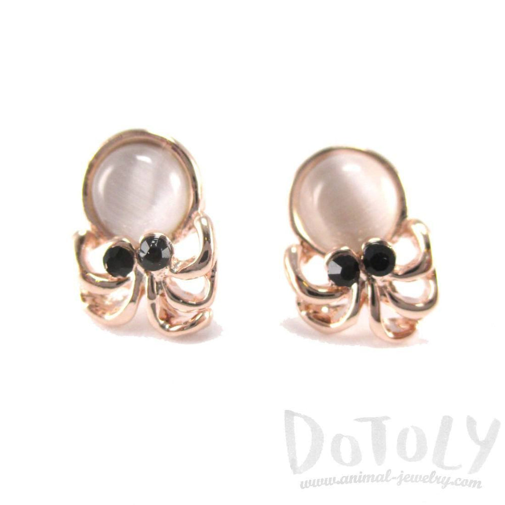Small Octopus Squid Shaped Stud Earrings in Rose Gold with Pearl Detail | DOTOLY