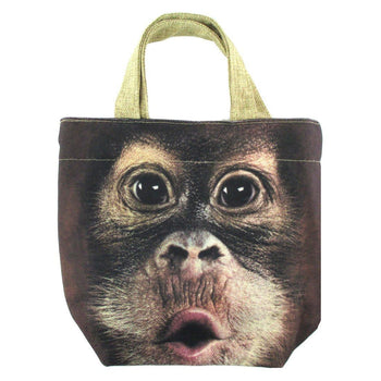 Small Orangutan Monkey Face Print Fabric Lunch Tote Bag | DOTOLY | DOTOLY