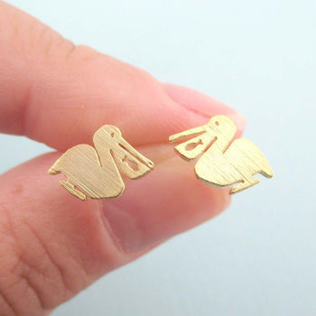 Pelican Silhouette with Fish Cut Out Shaped Stud Earrings in Gold