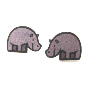 Small Rhino Rhinoceros Animal Illustration Stud Earrings | Handmade Shrink Plastic | DOTOLY