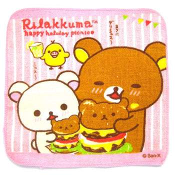 Small Rilakkuma Bear Eating Teddy Shaped Hamburgers Print Handkerchief Face Towel | Japan | DOTOLY