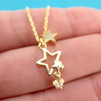Small Star Outline Shaped Pendant with Dangling Stars Choker Necklace