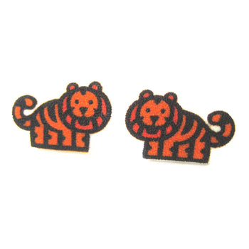 Small Tiger Animal Illustration Stud Earrings | Handmade Shrink Plastic | DOTOLY
