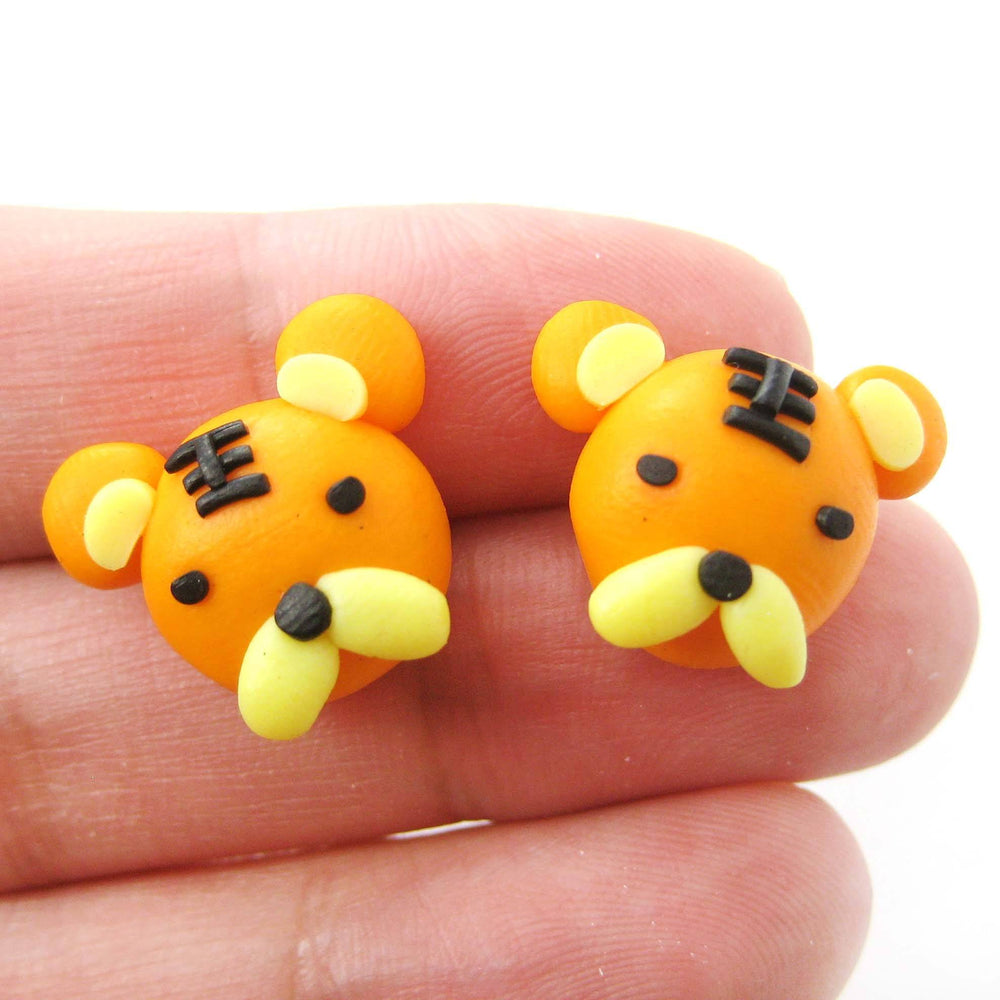 Small Tiger Shaped Animal Themed Polymer Clay Stud Earrings | DOTOLY | DOTOLY