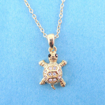 Small Turtle Shaped Charm Necklace in Gold with Rhinestones | DOTOLY