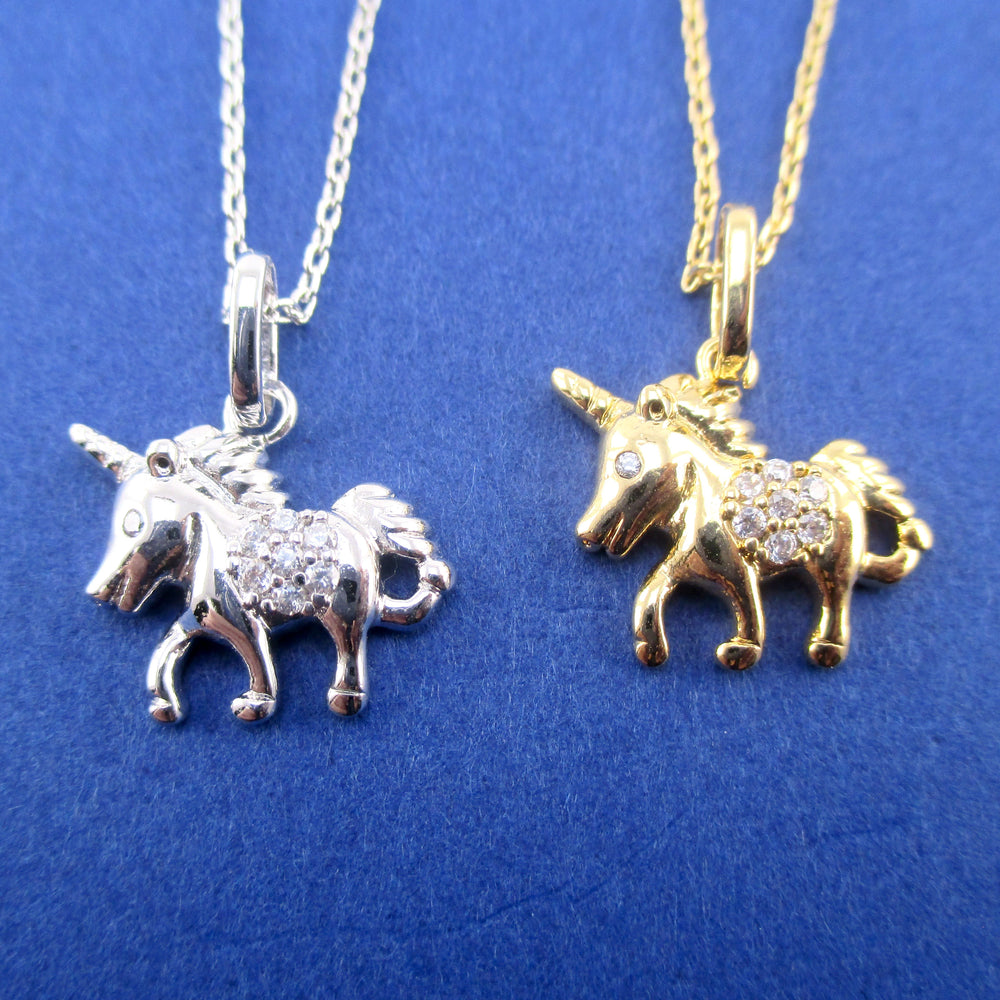 Small Unicorn Pony Horse Shaped Pendant Necklace in Silver or Gold