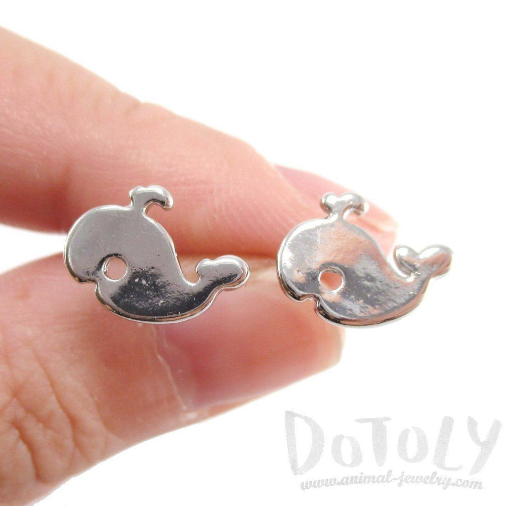 Small Whale Silhouette Shaped Stud Earrings in Silver | Animal Jewelry | DOTOLY