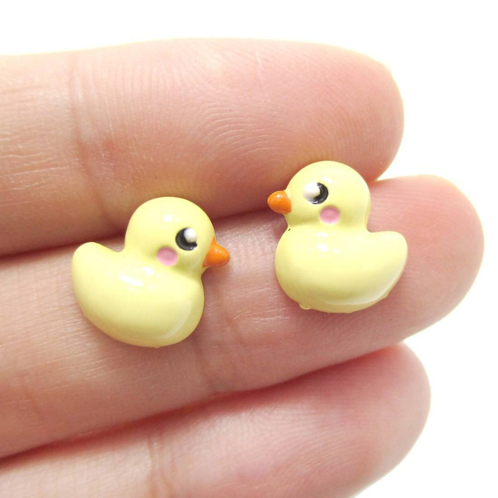 Small Yellow Rubber Ducky Shaped Stud Earrings | Animal Jewelry | DOTOLY