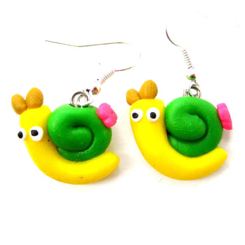 Snail Shaped Insect Themed Polymer Clay Dangle Earrings | DOTOLY | DOTOLY