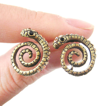 Snake Shaped Stud Earrings in Brass with Rhinestones | Animal Jewelry | DOTOLY