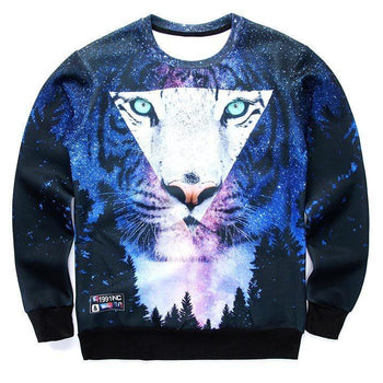 Snow Tiger Animal Face Starry Night Sky Space Print Long Sleeve Sweater | DOTOLY