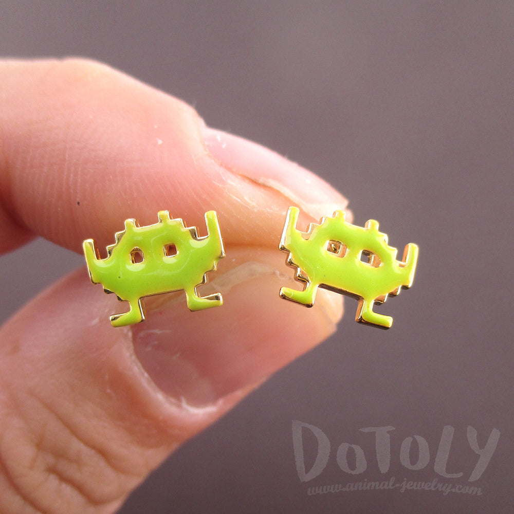 Space Invaders Small Pixel Alien Arcade Games Themed Stud Earrings