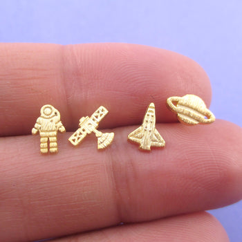 Space Travel Themed Astronaut Rocket Saturn Satellite Shaped Stud Earrings
