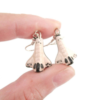 Spaceship Rocket Shaped Ceramic Space Themed Dangle Earrings | Handmade | DOTOLY
