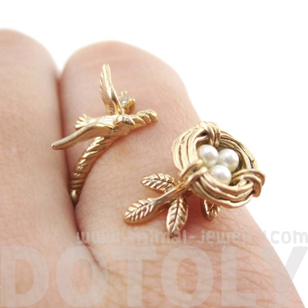 Sparrow and Bird Nest on A Branch Wrap Around Adjustable Ring in Antique Gold | DOTOLY