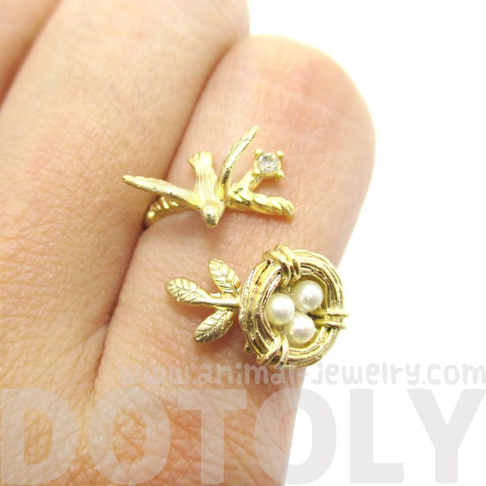 Sparrow and Bird Nest on A Branch Wrap Around Adjustable Ring in Gold | DOTOLY