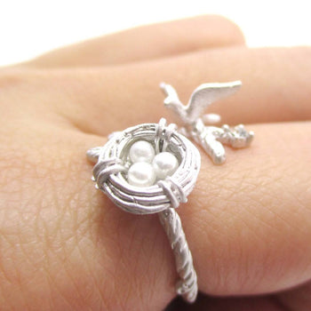 Sparrow and Bird Nest on A Branch Wrap Around Adjustable Ring in Silver | DOTOLY
