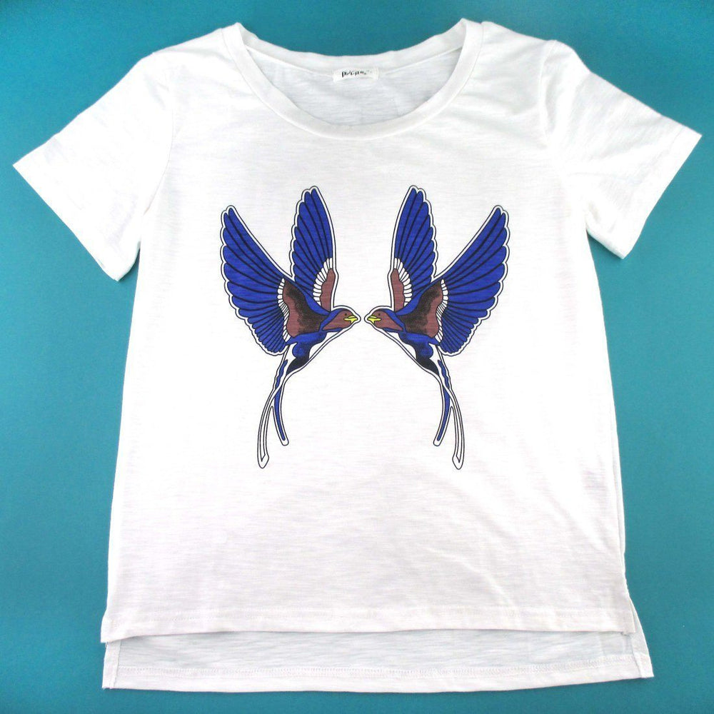 Swallow Love Birds Tattoo Inspired Graphic Print T-Shirt in White | DOTOLY | DOTOLY