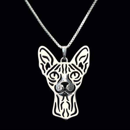 Sphynx Cat Face Cut Out Shaped Pendant Necklace in Silver | Animal Jewelry | DOTOLY
