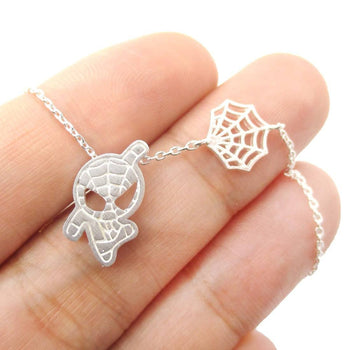 Spider-Man and Web Shaped Charm Necklace in Silver | Marvel Super Heroes | DOTOLY